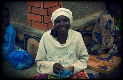 Ugandan Woman Making Beads